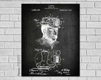 Miners Lamp, Miner Helmet, Mining Poster, Mining Wall Art, Mining Print,Drilling,Mine Decor, Mining Gifts, Mining Decor, Mining Gift, CM147