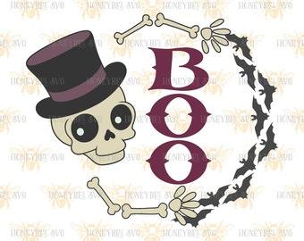 Skeleton Boo Wreath svg Halloween svg Halloween decor svg Boo svg Skeleton svg Fall decor svg Fall svg Silhouette svg Cricut svg eps dxf