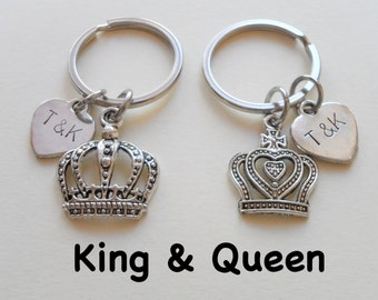 Couple Keychain Set, King and Queen Crown Key Ring Set, Husband Wife, Girlfriend Boyfriend, Fairytale Key Chains, Anniversary Gift, Stamped