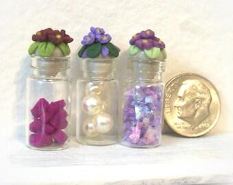 Purple Florals Fancy Dollhouse Scale Miniature Glass Bath Bottles with Delicate Hand Sculpted Lids Lavender Chic Bath Decor - Set of 3