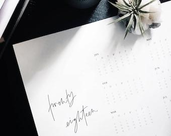 Printable Calendar 2018, Printable Wall Calendar, Calendar, Minimalist 2018 Wall Calendar, Modern Wall Calendar