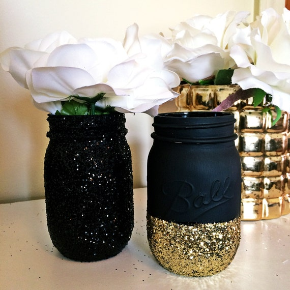 Black gold mason jar party supplies decor baby shower ideas