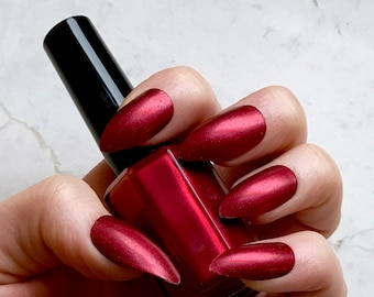 BeStillMyHeart - Indie Nail Polish - 5-Free - Vegan & Cruelty-Free - Deep Red with Tiny Flecks of Red and Purple - Perfect Stocking Stuffer!