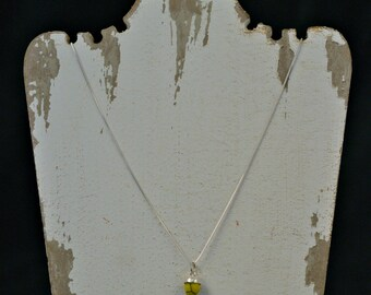 Delicate 6mm Yellow Turquoise and Silver Necklace - With or Without Chain