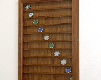 90 Casino Poker Chip Display Case Wall Cabinet Cherry Hardwood