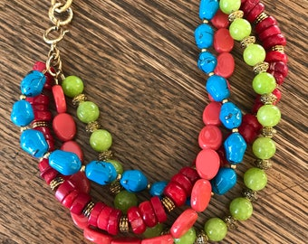 Bright Beaded Necklace Bracelet combo vintage re-purposed brass chain, coral, stones, glass beads