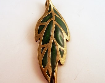 Leaf Pendant epoxy Pewter