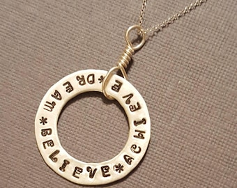 Sterling Silver DREAM BELIEVE ACHIEVE Necklace