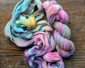 Lollipop Guild Hand Dyed Sock Yarn Single Ply 100g Speckled Skein Merino Wool
