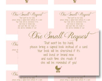 INSTANT DOWNLOAD - Pink Blush Gold Glitter Bring a book Request Card Insert Tag Baby Shower