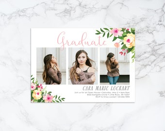 Printable Watercolor Pink and Yellow Floral Theme Photo Card Graduation Invitation or Announcement
