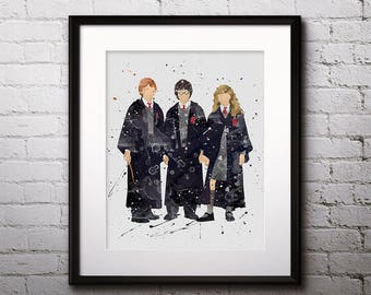 Harry Potter Hermione & Ron Watercolor Print, Harry Potter Art, Harry Potter Painting, Nursery, Kids Room Decor, Wall Art