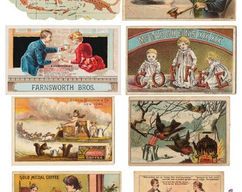 Eight Victorian Coffee Lovers Trade Cards vintage antique instant download mixed media collage sheet journal scrapbooking decoupage