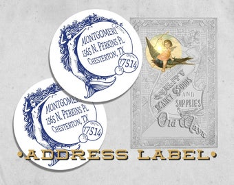 Nautical Vintage Mermaid Return Address Labels - Personalized Printed Address Labels - 2 inch Round Envelope Seal - Beach House