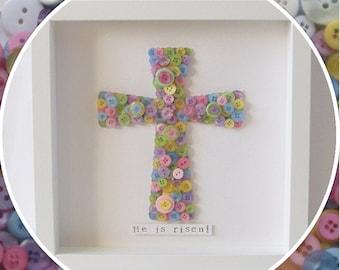 Handmade 'He is risen' Cross Christian Easter Button Frame