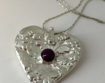 My heart is yours - fine silver and ruby