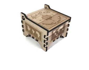 Not All Who Wander Are Lost - Wood Jewelry Box - Keepsake Box - World Map - Trinket Box - Personalized Box - World Map Art - Wood Box