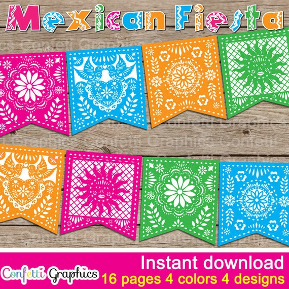 Mexican Fiesta Banner Bunting Birthday Party 5 de Mayo May