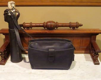 Etsy BDay Sale Coach Brighton Bag In Navy (Black?) Leather With Adjustable Crossbody Strap- Style No 9895 - Made in USA - VGC