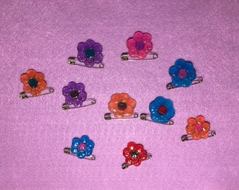 Flower blossoms pins (set of 5 or 10)