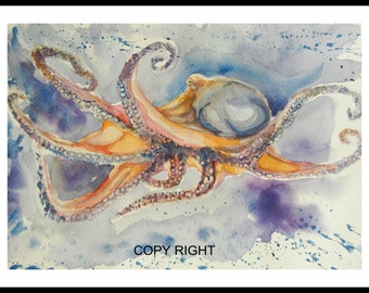 "original watercolor painting, Octopus, 12""x9"", 150138"