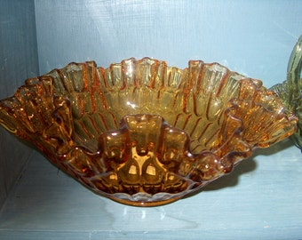Antique Vintage Fenton Amber Glass Thumbprint Bowl