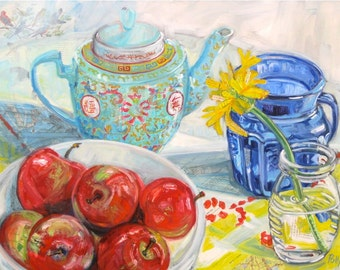Reserved Original mixed media still life painting on canvas by Polly Jones free shipping