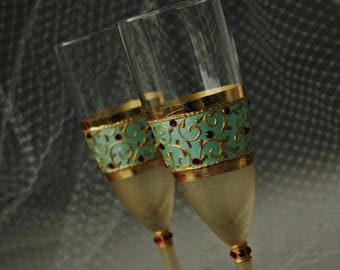 Mint Red Gold Wedding Glasses, Champagne Flutes, Retro Wedding, Mint Wedding, Hand Painted
