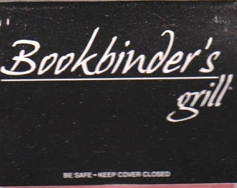 Vintage Matchbook cover Bookbinder's Grill Richmond VA Near Mint Full 30 Strike