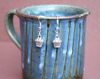 Silver-plated cupcake dangle earrings with fish hooks