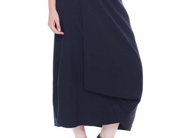 1980s Vintage Comme des Garcons Long Black Wrap Skirt  Size: S/M