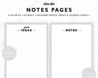 PRINTABLE NOTES / Planner Accessories / 2018 Planner / Journal / Planner Accessories / Notes / The Harlow Planners in Moonshine / 416