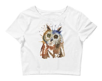 Women's Crop Tee   Whoo are You   Watercolor Owl Crop T-shirt