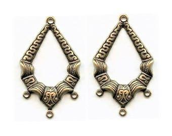 2 pendentifs chandeliers filigrane plaqué laiton oxydé, 33x20 mm