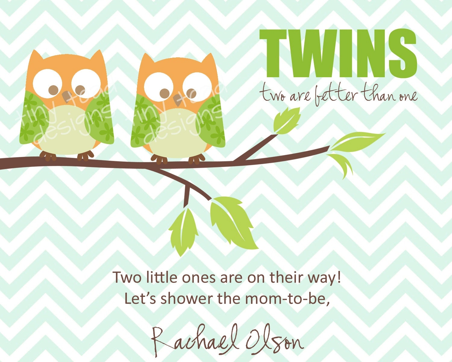 Twins Baby Shower Invitations Boys Owls DIY Printable