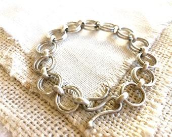 Silver Link Bracelet, Silver Chain Bracelet, Round Link Silver