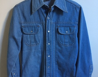 Vintage 1970s Long Denim Shirt Jacket // 70s Collared Jean Button Down