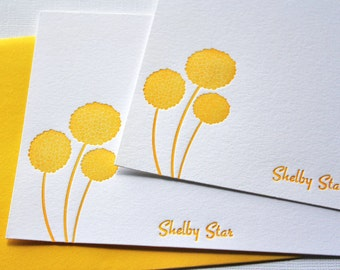 Personalized Letterpress Stationery Craspedia Honey Gold