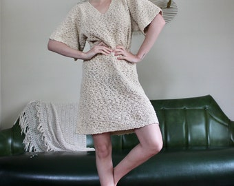 70's Vintage Loose Knit Oatmeal Wide Bell Sleeve Tunic Dress // Small Medium