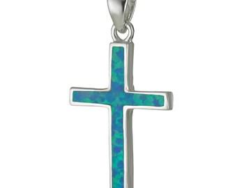 Blue Opal Cross Pendant, Sterling silver Cross Necklace, CZ Blue Cross Pendant, Blue Cross Necklace, Cross Necklace Gift