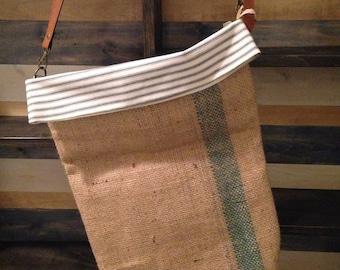 Recycled Burlap Messenger Bucket Bag