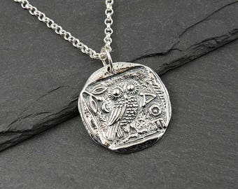 Owl Necklace - 925 Sterling Silver Athena Necklace, coin necklace, greek coin, egyptian jewelry, gift for her, greek jewelry, Athena owl