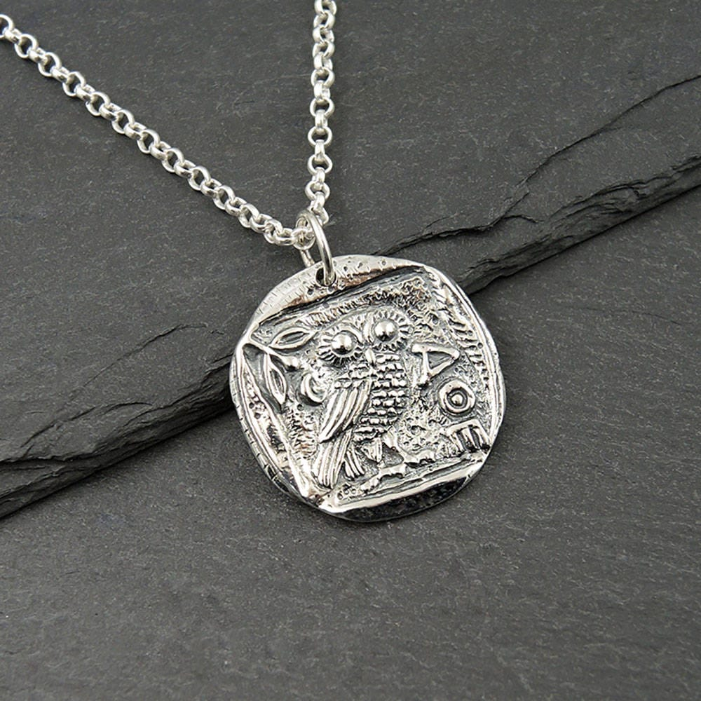 Owl necklace 925 sterling silver athena necklace coin zoom jeuxipadfo Image collections