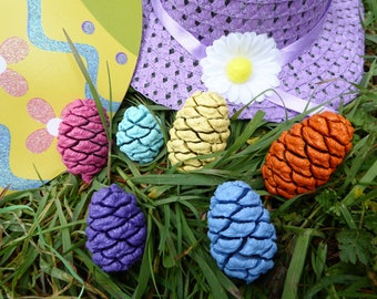 Easter Egg Hunt, Easter decorations, Easter Table decorations, Painted Easter Pine Cones, Spring decor, wedding decorations, Easter Baskets
