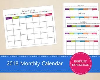 Printable 2018 Monthly Calendar - Editable 2017 Calendar - 2017 Monthly Planner - INSTANT PDF DOWNLOAD