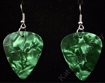 Green Pearl/Pearloid Genuine Guitar Pick Earrings