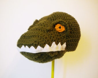 Crochet Tyrannosaurus Rex Hat - dinosaur hat in olive green - cartoon Halloween t-rex costume hat