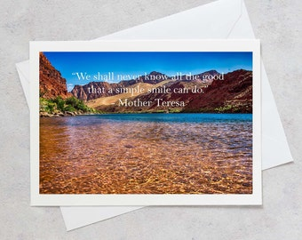 Inspirational Card, Mother Teresa, Fine Art Card, Greeting Card, Blank Inside, Custom Message, Lee's Ferry, Arizona, Fine Art Photo, Cards
