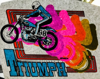 Triumph Motorcycle Vintage 1974 Roach Incorporated Iron On Heat Transfer