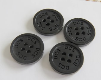 Button * black round to listing DCS (set of 4)